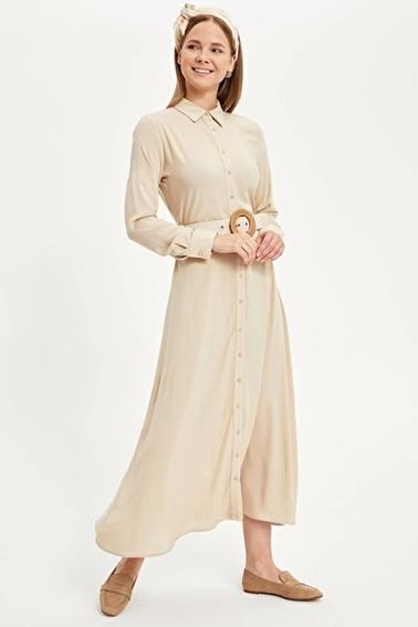DeFacto Uzun Gömlek Elbise Ekru